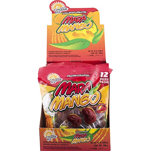 Paletas Mara Mango with Chile Lollipops, 12 Pieces (Pack of 6)