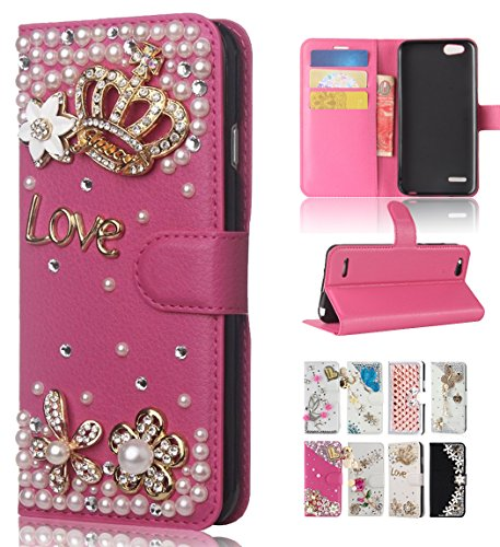 ZTE Blade Vantage Case, ZTE Tempo X N9137/ZTE Avid 4 Z855 Case, Best Share Luxury Bling Diamond Flip Leather Kickstand Wallet Case With Card Slot Full Protective Cover,Rose Crown ()
