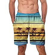 FDSD Man Swimsuit Swim Board Shorts for Men's Casual Swim Trunks Beach Printed Quick Dry Mens Beach Bathing Suits