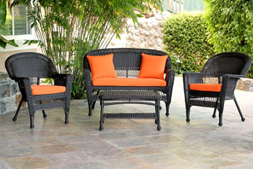Jeco W00201-G-FS016 4 Piece Wicker Conversation Set with Brick Orange Cushions, Espresso (4 Piece Wicker)