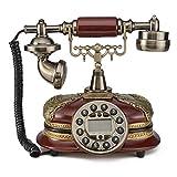 LNC Retro Vintage Antique Style Push Button Dial Desk Telephone Phone Home Living Room Decor Picture