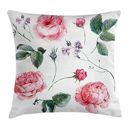 """Ambesonne Flower Throw Pillow Cushion Cover, Shabby Form Vintage Style Watercolor Roses Branches Wildflowers Hand Print Image, Decorative Square Accent Pillow Case, 20"""" X 20"""", Green Pink"""