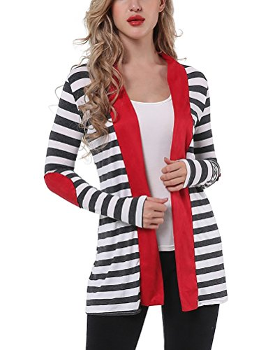Myobe Women's Black White Elbow Patch Shawl Collar Summer Striped Open Front Cardigan Sweaters Coat Outwear  (RED, S)