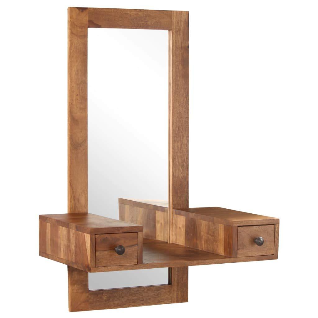 Festnight Kosmetikspiegel mit 2 Schubladen Schminktisch mit Spiegel Kosmetiktisch Frisierkommode SpiegelSheeshamholz Massiv 60 x 37 x 90 cm