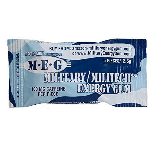 MEG - Military Energy Gum | 100mg of Caffeine Per Piece + Increase Energy +  Boost Physical Performance +