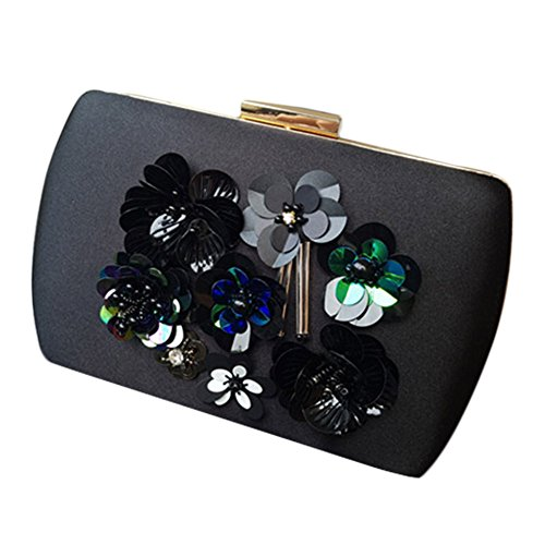 Lawevan® Mujer L20cm * H12cm * W5cm Bolsa de tela de seda Caja embrague decorado con flores de lentejuelas Bolso de noche de boda de embrague Negro