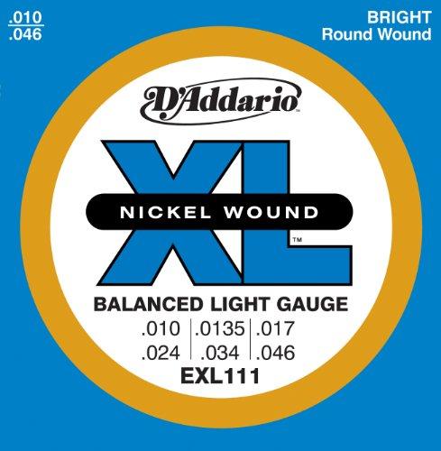 Nickel Wound Round Regular Light - D'Addario EXL111 Nickel Wound Electric Guitar Strings, Balanced Tension Regular Light, 10-46