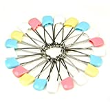 La Tartelette Cloth Diaper Pins Stainless Steel Traditional Safety Pin, Assorted Color – Pack of 24 Pcs