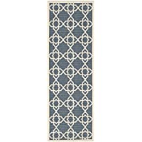Safavieh Courtyard Geometric Trellis Navy/Beige Indoor/Outdoor Runner Rug - 23 x 12