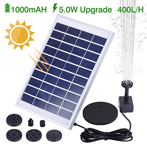 - HEYSTOP 5.0W Solar Fountain Pump, Solar Water Pump Floating Fountain Built-in Battery, with 8 Nozzles, for Bird Bath, Fish Tank, Pond or Garden Decoration
