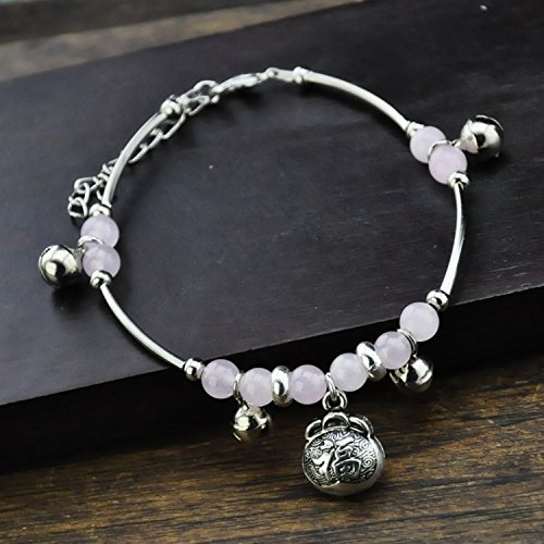 usongs Recruit women girls models peach pink chalcedony student Miao silver Foot Chain anklet ankle chain feet decorated lucky bag retro bell Yunnan