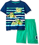 Nickelodeon Toddler Boys' 2 Piece Teenage Mutant Ninja Turtles Tee and Twill Short Set, Navy, 4t