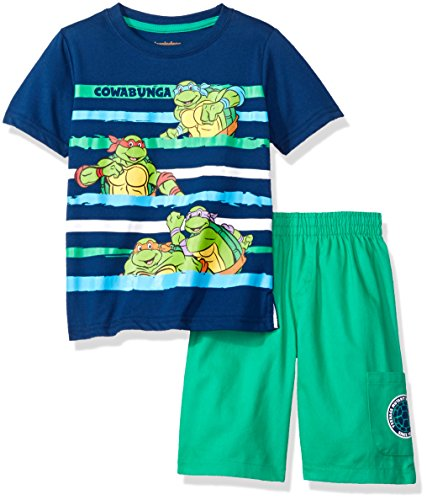 Nickelodeon Little Boys' 2 Piece Teenage Mutant Ninja Turtles Tee and Twill Short Set, Navy, 5 (Tmnt Outfit)