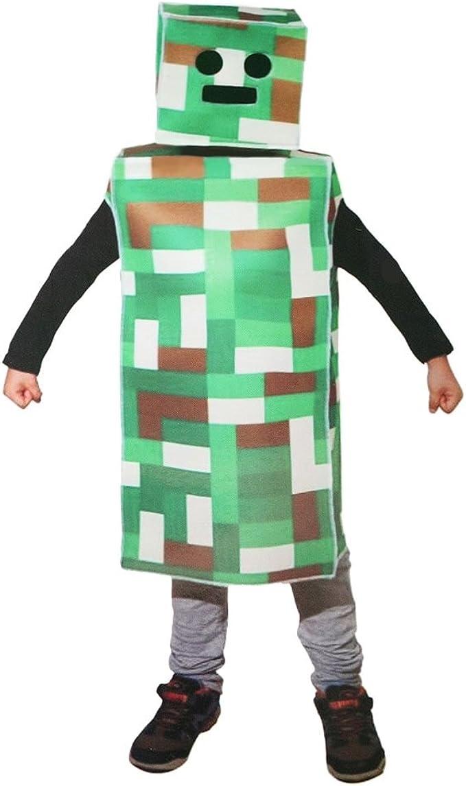 Pixel Verde Robot Monster disfraz de niño (pequeño 4 – 8): Amazon ...