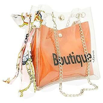 TOOGOO Clear Bag Bucket Bag Fashion Transparent Women'S Shoulder Messenger Beach Casual Shopping Bag(Brown)