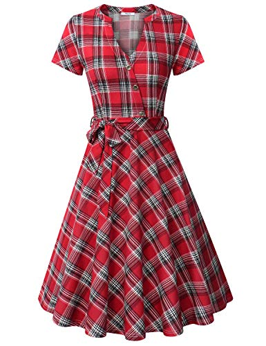 (Diphi LiLi Women's V Neck Dresses Short Sleeve Button Down Shirt Vintage Plaid Dress (Red Square Plaid, X-Large))