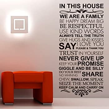 Amazoncom In This House We Do Wall Decals Family Rules Quotes - House rules wall decals