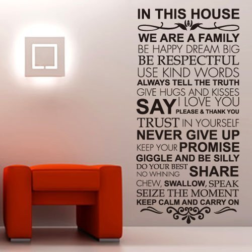House Rules Family love Large wall stickers quotes decals ho