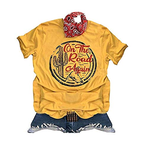 GEMLON On The Road Again Cactus Texas Graphic T Shirt for Women Casual Vintage Shirts Yellow
