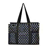N Gil All Purpose Organizer Medium Utility Tote Bag 3 (Gold Polka Dot Navy Blue)