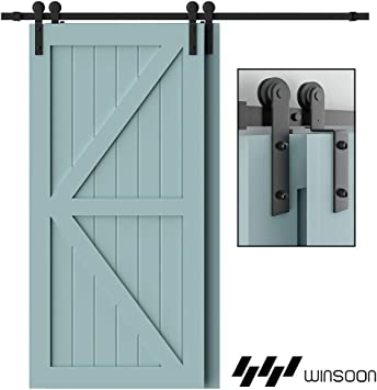 Bypass 8ft Bypass B-Line by Pass Handles//Latch Included Sliding Barn Door Hardware Black Antique.