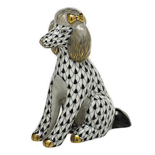 Herend Poodle Dog Porcelain Figurine Black Fishnet