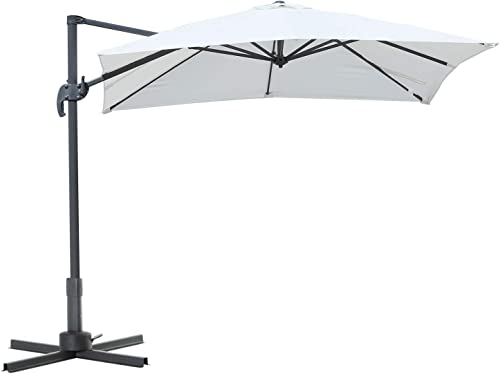 Outsunny 8 x8 Square Patio Offset Hanging Cantilever Umbrella 360 Rotation w Cross Base 8 x 8 Square Offset 360 Cantilever Market Patio Umbrella with Cross Base Cream White