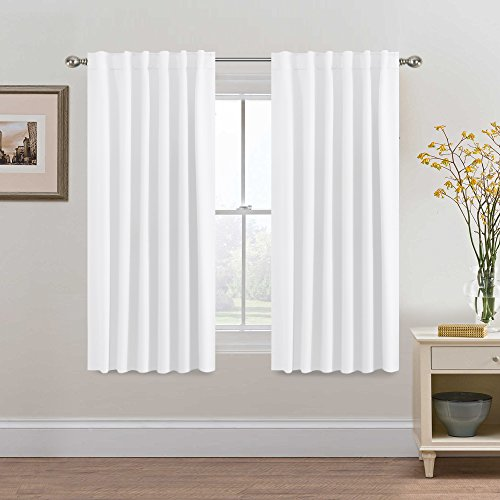 H.VERSAILTEX Pure White Curtains Panels for Living Room Back Tab/Rod Pocket, 52 x 63 Inches - 2 Panels