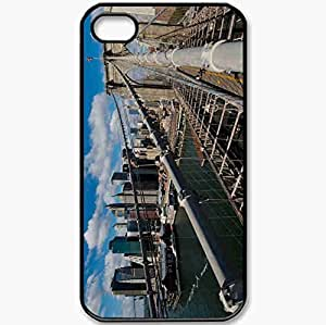 Protective Case Back Cover For iPhone 4 4S Case New York Brooklyn Bridge Action Black