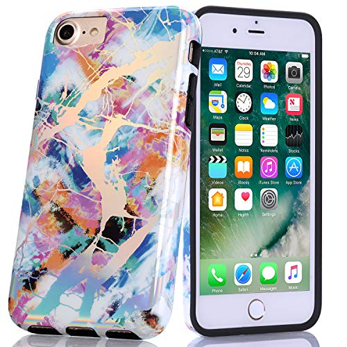 BAISRKE Shiny Laser Style Multi-Colored Marble Design Bumper TPU Soft Rubber Silicone Cover Phone Case Compatible with iPhone 7 / iPhone 8 / iPhone 6 6s [4.7 ()
