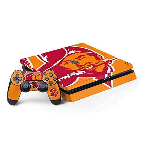 (Skinit NFL Tampa Bay Buccaneers PS4 Slim Bundle Skin - Tampa Bay Buccaneers Retro Logo Design - Ultra Thin, Lightweight Vinyl Decal Protection)
