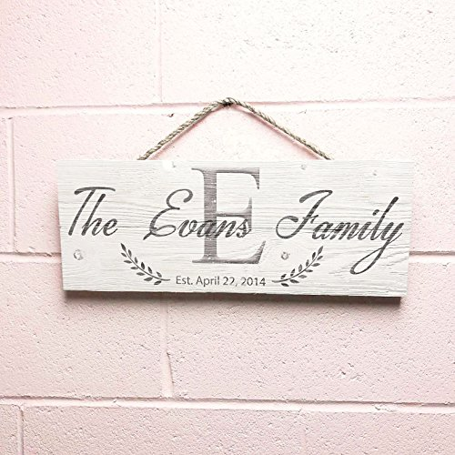 Artblox Personalized Rustic Family Wood Sign Home Decor - Custom Family Initials, Last Name and Established Year, Real Barn Wood Farmhouse Style Wooden Wall Art Country Pallet Plaque 7x18""