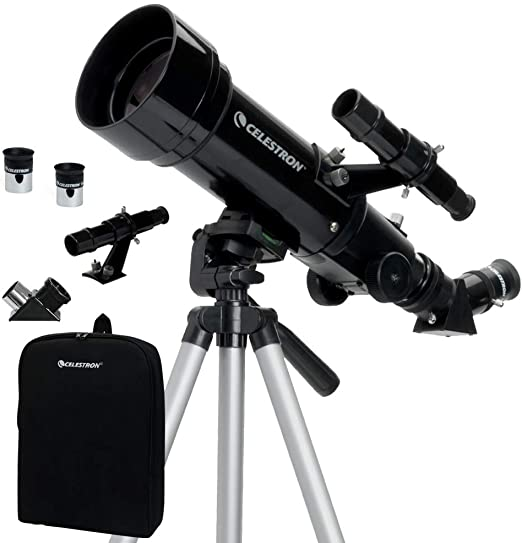 D/&M Kids /& Adults Portable Travel Telescope,70mm Refractor Telescope with Tripod /& Finder Scope,Backpack and Moon Filter,70mm Aperture,3X Barlow Lens,White