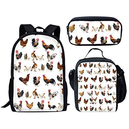 doginthehole Chicken Print Backpack Set 3 Piece Shoulder School Book Bags For Boy Girl