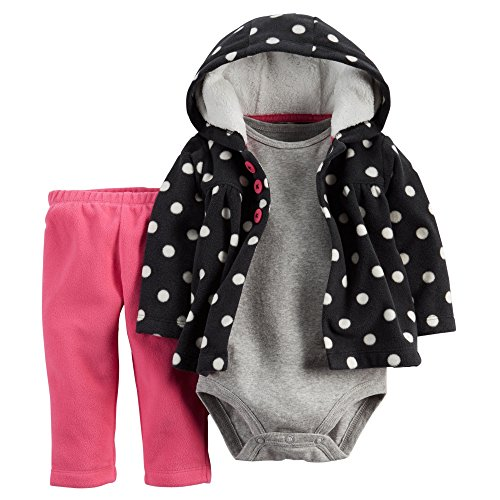 Carters Baby Girls 3-Piece Cardigan Set Black Dots - Newborn