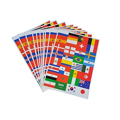 TENCHOE World Cup Flag Stickers 2018 Russia World Cup Top 32