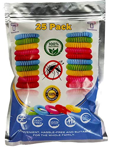 Mosquito Repellent Bracelet Bug Bands for Kids, Adults & Pets - Easy & Comfortable Citronella Anti Pest Protection - No More Bug Spray! + 6 Free Repellent Patches, Waterproof, 100% Natural (25 Pack) ()