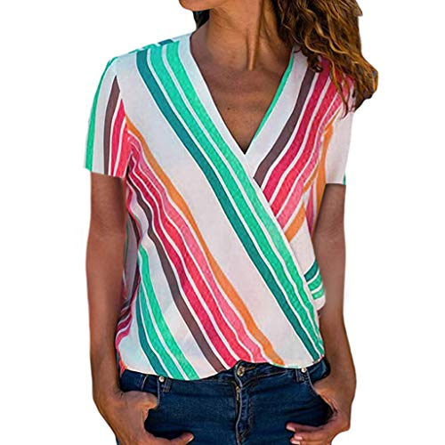 Survivor T-shirt Green - Aunimeifly Women Colorful Stripes Printing Blouse Lapel Button Down T-Shirt Short Sleeve V Neck Tops Green