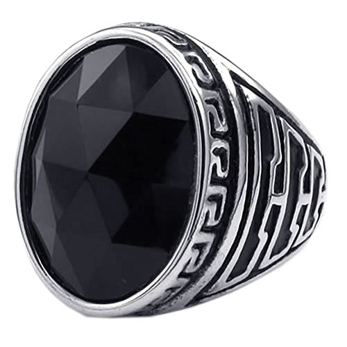 KONOV Mens Crystal Stainless Steel Ring, Classic Oval, Black, Size 10