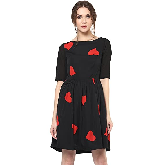 7e2a01b947 Roving Mode Women s Cute Mini Heart Print Casual 3 4 Sleeve Party Dress