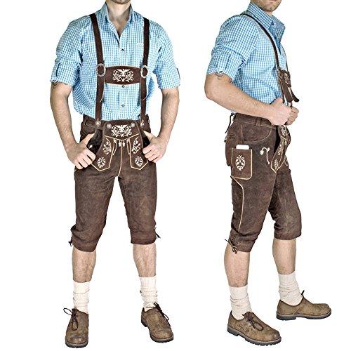 Meloo Trachtenhose Herren Kniebund Trachten Lederhose Wildleder Bayerische Kostum Braun Trachtenmode Mit Hosentragern + Smartphone Tasche