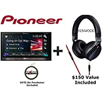 Pioneer AVH-4200NEX 7 DVD Receiver with Built in Bluetooth with a Kenwood KH-KR900 Over the Ear Headphones and a FREE SOTS Air Freshner