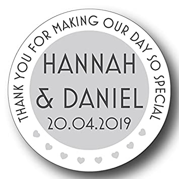 50 x 3cm personalised wedding stickers favours save the date invites 2 message hearts