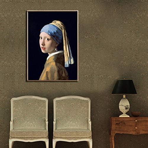 yaonuli Holandés Johannes niña con Pendientes de Perlas Pintura al óleo Arte de la Pared póster Lienzo Imagen Sala de Estar decoración del hogar Pintura sin Marco 60x90cm