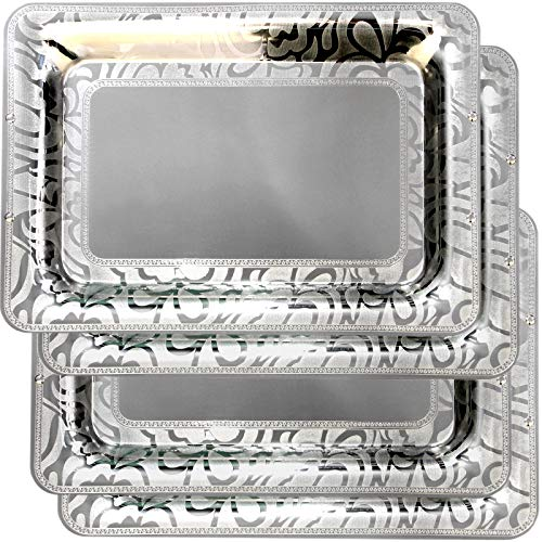 Maro Megastore (Pack of 4) 17.7-Inch x 12.2-Inch Rectangular Stainless Steel Serving Tray Ribbon Edge Engraved Heavy and Sturdy Wedding Birthday Buffet Party Dessert Food Platter Plate 1958 L -