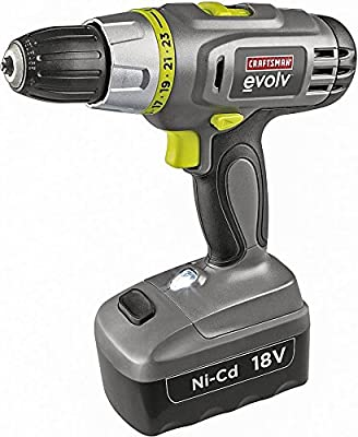 Craftsman Evolv 18.0 Volt Cordless Drill/Driver Kit with NiCAD Battery, Charger and Double-Ended Driver Bit Included