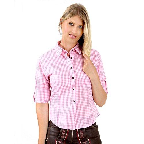 Almbock Trachtenbluse Jessie pink in Gr. XS S M L XL XXL - Slim-Fit Trachten-Bluse - Tegernsee, München, Regensburg, Stuttgart