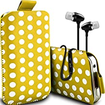 ( Yellow + Earphone ) Acer Liquid E700 Protective Stylish Fitted Faux Leather Polka Dot Pull tab Pouch Skin Case Cover With Premium Quality in Ear Buds Stereo Hands Free Headphones Headset with Built in Microphone Mic and On-Off Button by ONX3