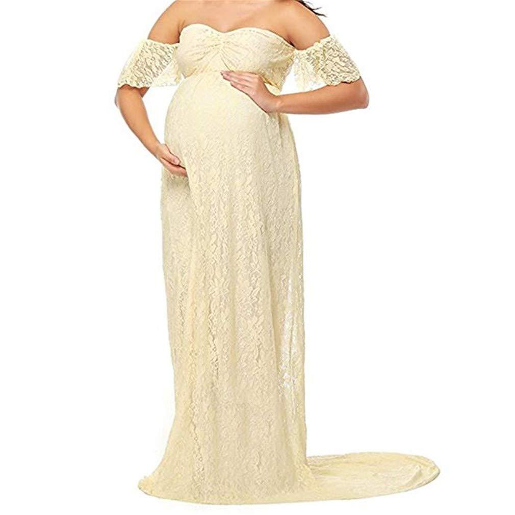 DHLP Vestido de Maternidad Mujer Fiesta Largos Boda Mujer Embarazada Vestidos Faldas de Maternidad Apoyos de Fotografía Playa: Amazon.es: Ropa y accesorios