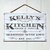 Artblox Personalized Rustic Kitchen Wood Sign Home Decor – Vintage Custom Name and Established Year, Premium Pine Wood Farmhouse Style Wooden Wall Art Country Pallet Plaque 8×12 – White